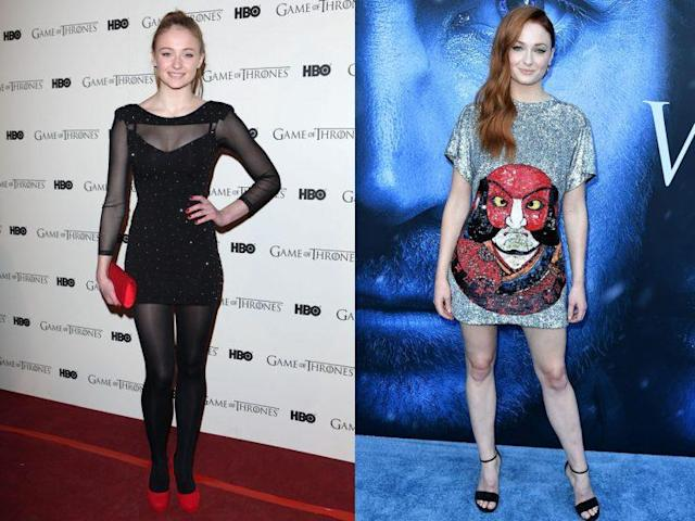 Sophie Turner in 2012 and 2017. (Photo: Getty Images)