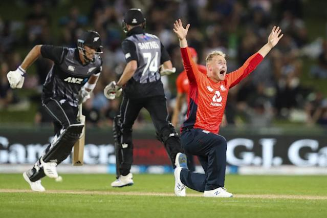"""<span class=""""element-image__caption"""">England's Matt Parkinson appeals successfully for the wicket of Tim Southee.</span> <span class=""""element-image__credit"""">Photograph: AP</span>"""