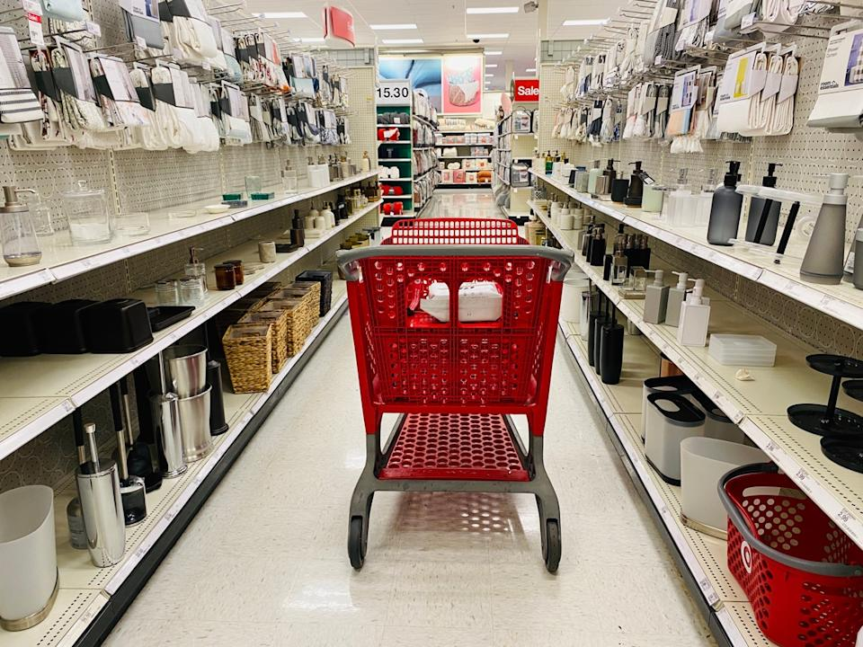 Target shopping cart in home goods aisle