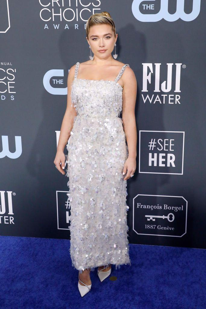 <p>The Little Woman actress wore a sequinned column dress to the 25th Annual Critics' Choice Award, January 2020.</p>