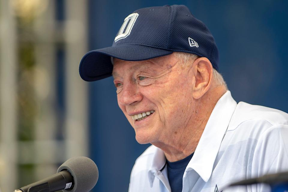 """Dallas Cowboys owner Jerry Jones takes questions during the """"state of the team"""" press conference at the start of the team's NFL training camp, Wednesday, July 25, 2018, in Oxnard, Calif. (AP Photo/Gus Ruelas)"""