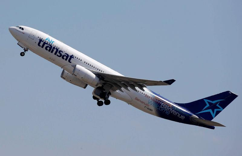 An Airbus A330 aircraft of Air Transat airlines takes off in Colomiers near Toulouse