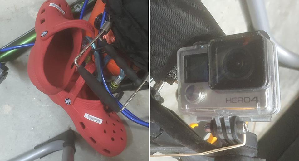 A pair of Crocs-style shoes and a GoPro found by the NSW fisherman.