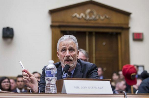 PHOTO:Jon Stewart testifies during a House Judiciary Committee hearing on re-authorization of the September 11th Victim Compensation Fund on Capitol Hill, June 11, 2019, in Washington, D.C. (Zach Gibson/Getty Images, FILE)