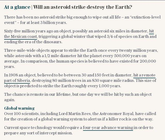 At a glance   Will an asteroid strike destroy the Earth?