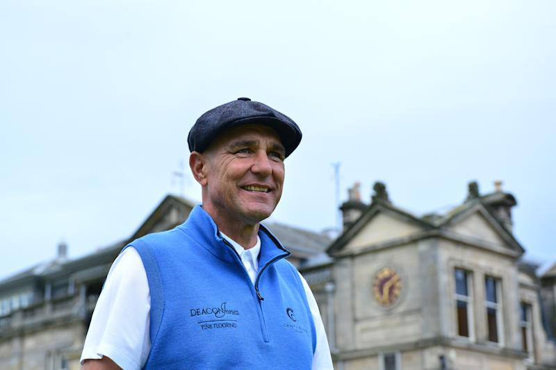 Former football player Vinnie Jones during the Hickory Challenge during preview for the Alfred Dunhill Links Championship at The Old Course on September 25, 2019 in St Andrews, United Kingdom. (Photo by Mark Runnacles/Getty Images)