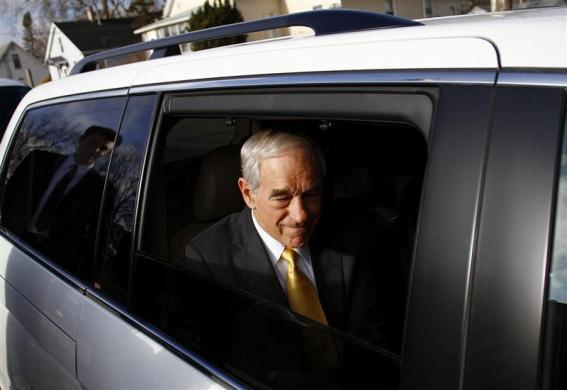 Ron Paul sits in his vehicle after speaking during a town hall meeting in Mount Pleasant, Iowa, December 21, 2011. (REUTERS/Joshua Lott)