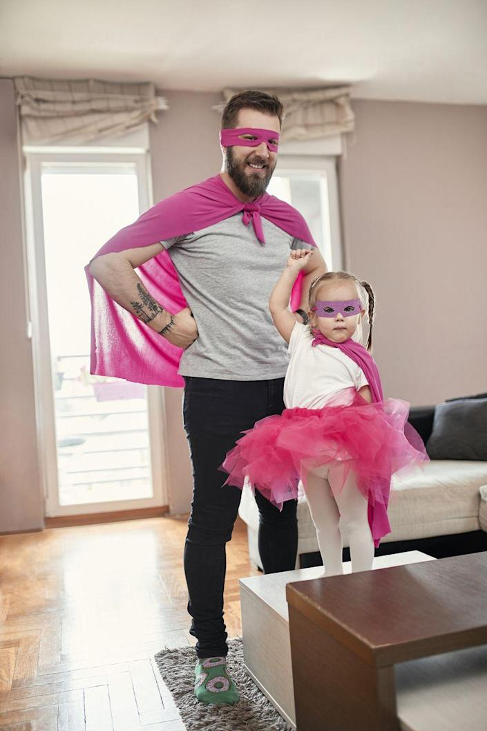 """<p>We can all agree that Dad is <em>already</em> a superhero, but having some pretend time with the kids is even more fun! Raid the dress-up trunk, wear coordinating outfits, and fly around the house, taking lots of pictures along the way.</p><p><a class=""""link rapid-noclick-resp"""" href=""""https://go.redirectingat.com?id=74968X1596630&url=https%3A%2F%2Fwww.walmart.com%2Fip%2FSeasonsTrading-60-Pink-Cape-Halloween-Costume-Accessory%2F797507524&sref=https%3A%2F%2Fwww.thepioneerwoman.com%2Fholidays-celebrations%2Fg36333267%2Ffathers-day-activities%2F"""" rel=""""nofollow noopener"""" target=""""_blank"""" data-ylk=""""slk:SHOP CAPES"""">SHOP CAPES</a></p>"""