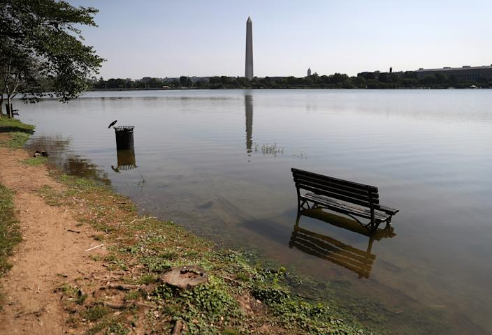 A park bench and sidewalk are flooded from the rising high tide on July 2, 2019 in Washington, D.C. (Photo: Mark Wilson/Getty Images)