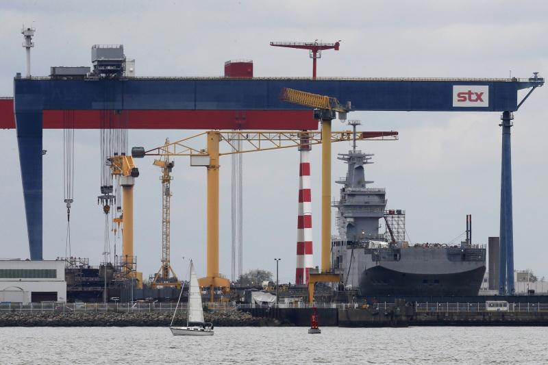 The Mistral-class helicopter carrier Sevastopol, named after the naval base in Crimea, is seen at the STX Les Chantiers de l'Atlantique shipyard site in Saint-Nazaire, western France, April 24, 2014. The Sevastopol is one of two Mistral-class warships ordered by the Russian Navy. REUTERS/Stephane Mahe (FRANCE - Tags: MILITARY POLITICS BUSINESS)