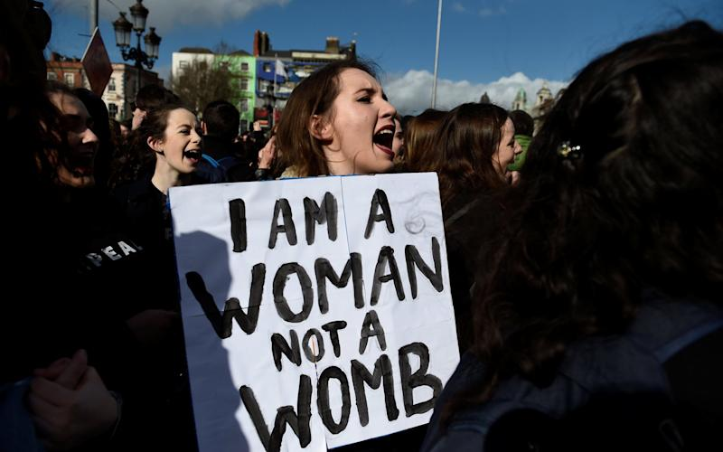 Campaigners stage a protest to demand more liberal abortion laws, in Dublin, Ireland - Clodagh Kilcoyne/Reuters