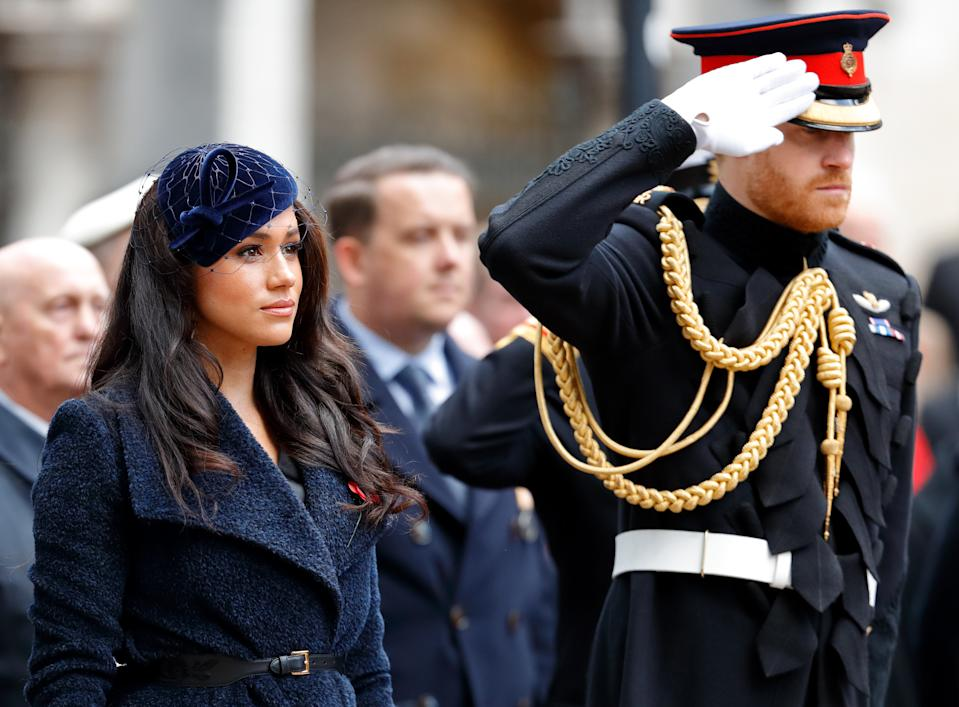 LONDON, UNITED KINGDOM - NOVEMBER 07: (EMBARGOED FOR PUBLICATION IN UK NEWSPAPERS UNTIL 24 HOURS AFTER CREATE DATE AND TIME) Meghan, Duchess of Sussex and Prince Harry, Duke of Sussex attend the 91st Field of Remembrance at Westminster Abbey on November 7, 2019 in London, England. (Photo by Max Mumby/Indigo/Getty Images)