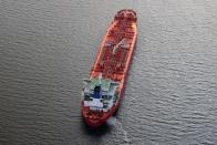 An oil tanker waits in line in the ocean outside the Port of Long Beach-Port of Los Angeles complex, amid the coronavirus disease (COVID-19) pandemic, in Los Angeles