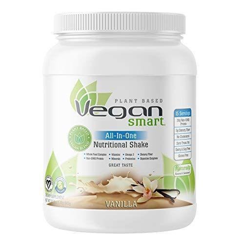 """<p><strong>Vegansmart</strong></p><p>amazon.com</p><p><a href=""""https://www.amazon.com/dp/B00CWLA56O?tag=syn-yahoo-20&ascsubtag=%5Bartid%7C1782.g.4497%5Bsrc%7Cyahoo-us"""" rel=""""nofollow noopener"""" target=""""_blank"""" data-ylk=""""slk:BUY NOW"""" class=""""link rapid-noclick-resp"""">BUY NOW</a></p><p>For those who prefer to sip their snacks, keep a pack of this nutritional shake handy. Each serving contains 20 grams of non-GMO protein, dietary fiber, and no cholesterol.</p>"""