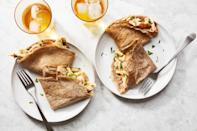 """Buckwheat flour adds a deep, earthy flavor to these cumin- and coriander-spiced, chicken-filled crepes. <a href=""""https://www.epicurious.com/recipes/food/views/buckwheat-crepes-with-spiced-chicken-filling?mbid=synd_yahoo_rss"""" rel=""""nofollow noopener"""" target=""""_blank"""" data-ylk=""""slk:See recipe."""" class=""""link rapid-noclick-resp"""">See recipe.</a>"""
