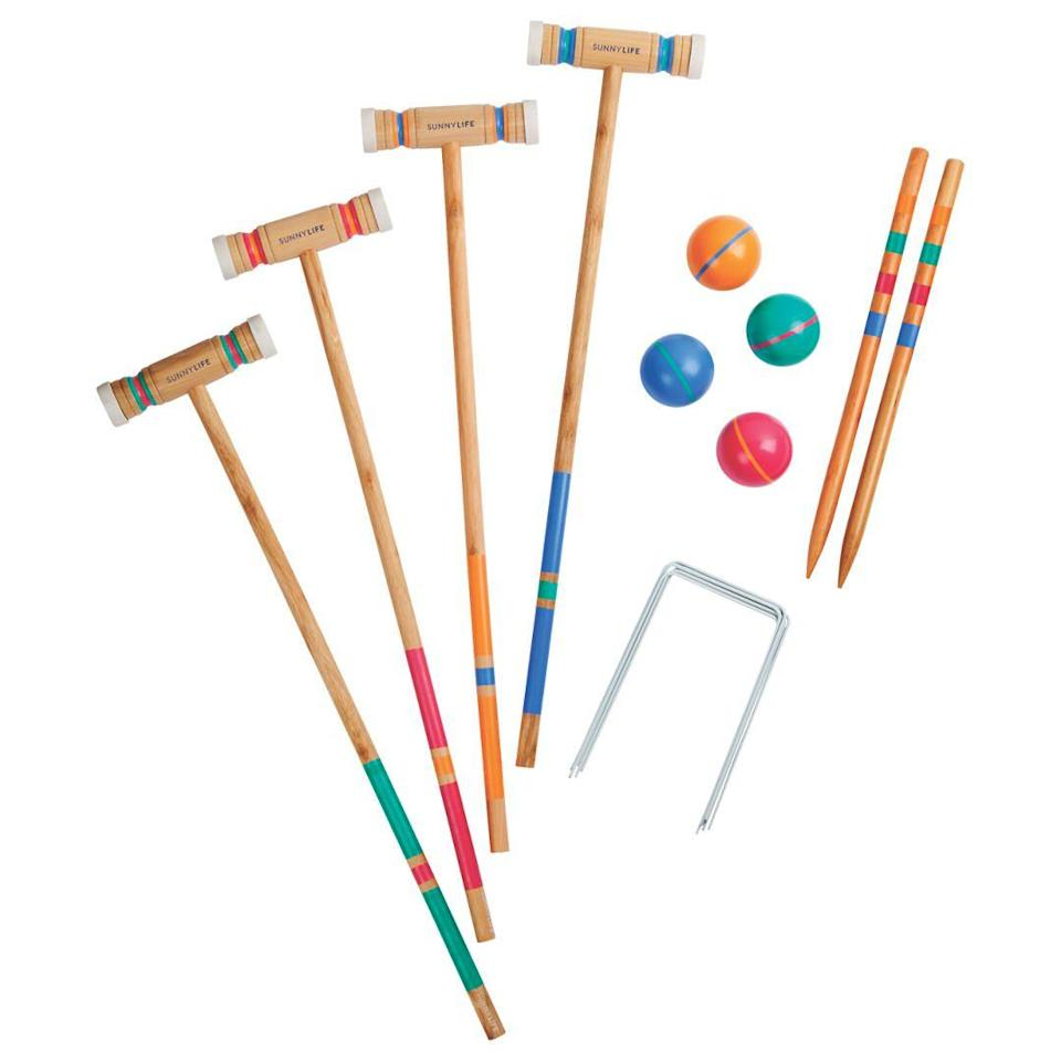 """<p>Up the fun levels with this colourful croquet set.<br></p><p><strong>Croquet Catalina by Sunnylife, £50, John Lewis</strong></p><p><a href=""""https://www.johnlewis.com/sunnylife-croquet-catalina/p3361073"""" rel=""""nofollow noopener"""" target=""""_blank"""" data-ylk=""""slk:BUY NOW"""" class=""""link rapid-noclick-resp"""">BUY NOW</a></p>"""
