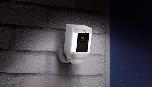 Ring Spotlight Cam Battery HD Security Camera with Built Two-Way Talk and a Siren Alarm, White,…