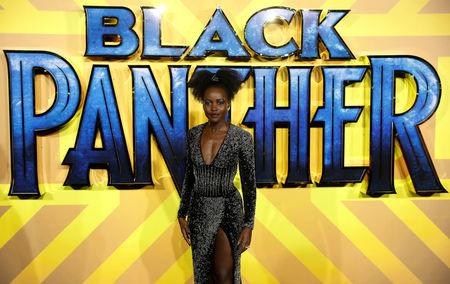 Actor Lupita Nyong'o arrives at the premiere of the new Marvel superhero film 'Black Panther' in London