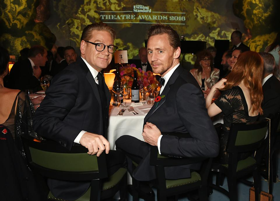 LONDON, ENGLAND - NOVEMBER 13: Sir Kenneth Branagh (L) and Tom Hiddleston attend the 62nd London Evening Standard Theatre Awards, recognising excellence from across the world of theatre and beyond, at The Old Vic Theatre on November 13, 2016 in London, England. (Photo by David M. Benett/Dave Benett/Getty Images)