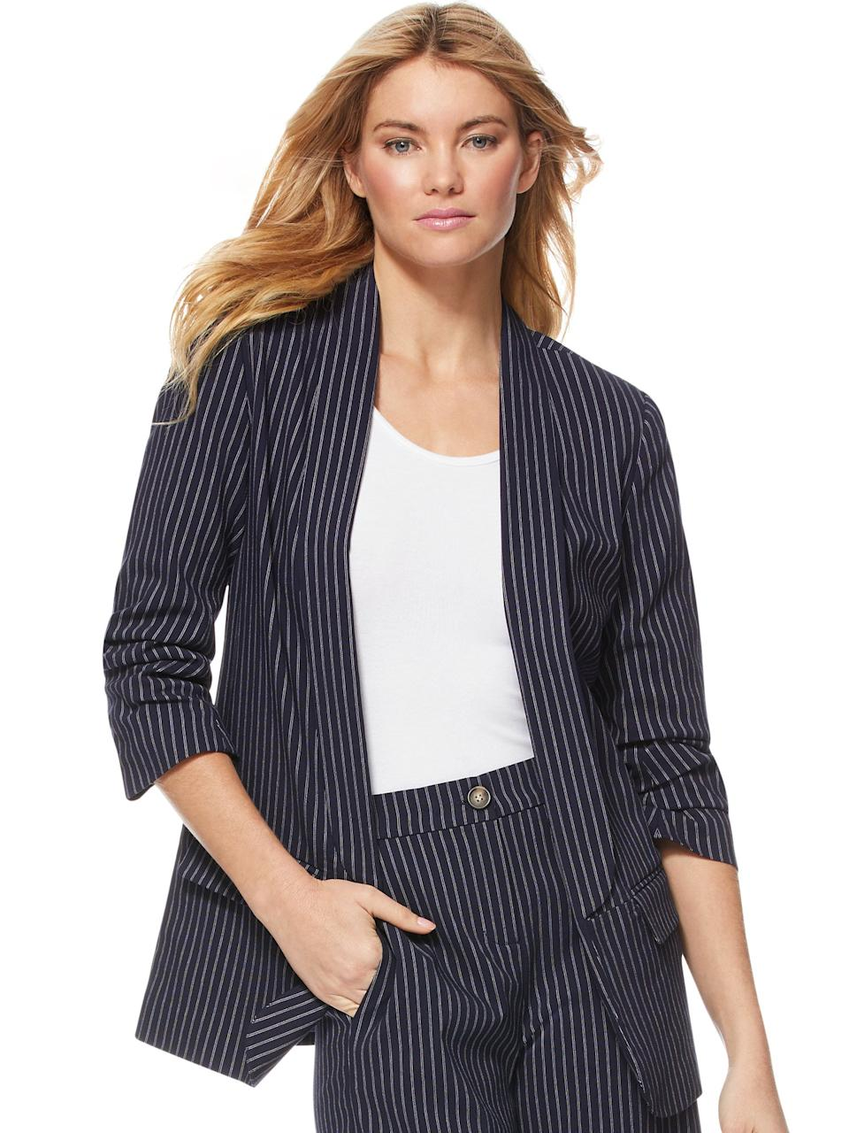 "<br><br><strong>Scoop</strong> Scrunch Sleeve Blazer, $, available at <a href=""https://go.skimresources.com/?id=30283X879131&url=https%3A%2F%2Fwww.walmart.com%2Fip%2FScoop-Scrunch-Sleeve-Shawl-Collar-Blazer-Women-s%2F584216963"" rel=""nofollow noopener"" target=""_blank"" data-ylk=""slk:Walmart"" class=""link rapid-noclick-resp"">Walmart</a>"