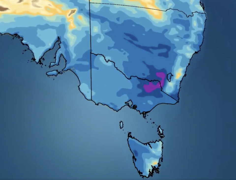 A BOM weather map shows rainfall in southern parts of Australia on Friday.