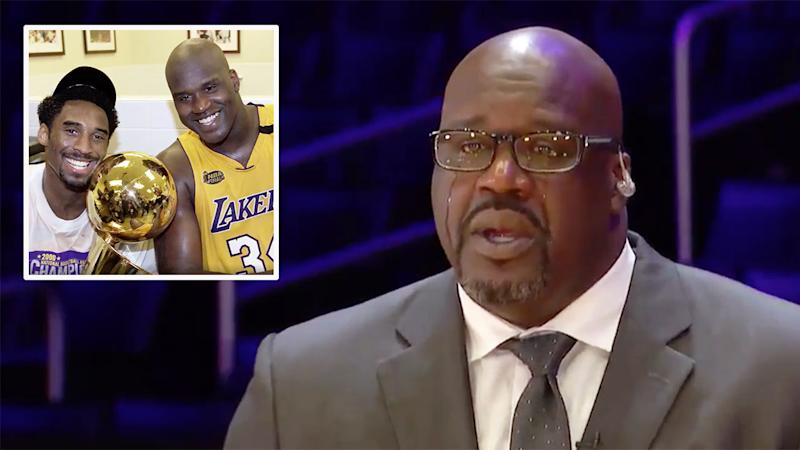 Seen here, Shaquille O'Neal chokes back tears talking about Kobe Bryant's death on TNT.