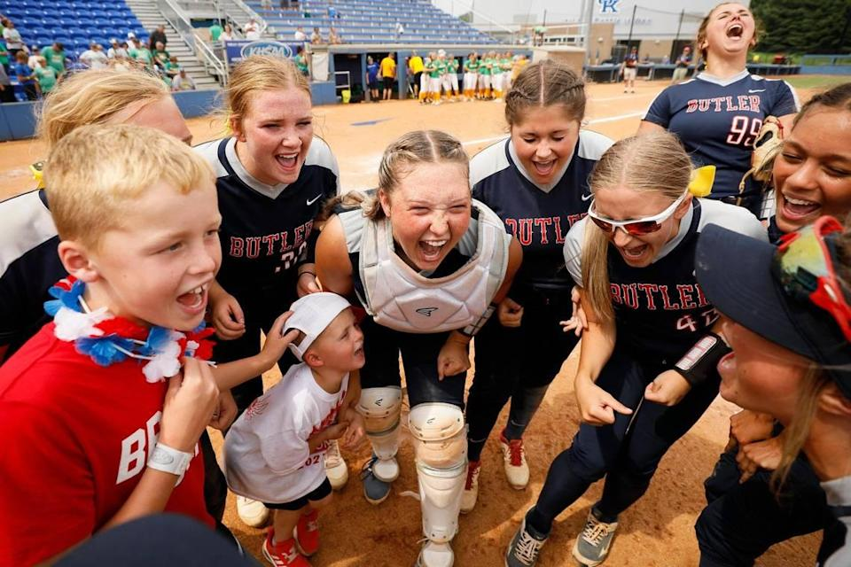 Butler celebrated after defeating Green County during the KHSAA State Softball Tournament semifinals Saturday at John Cropp Stadium.