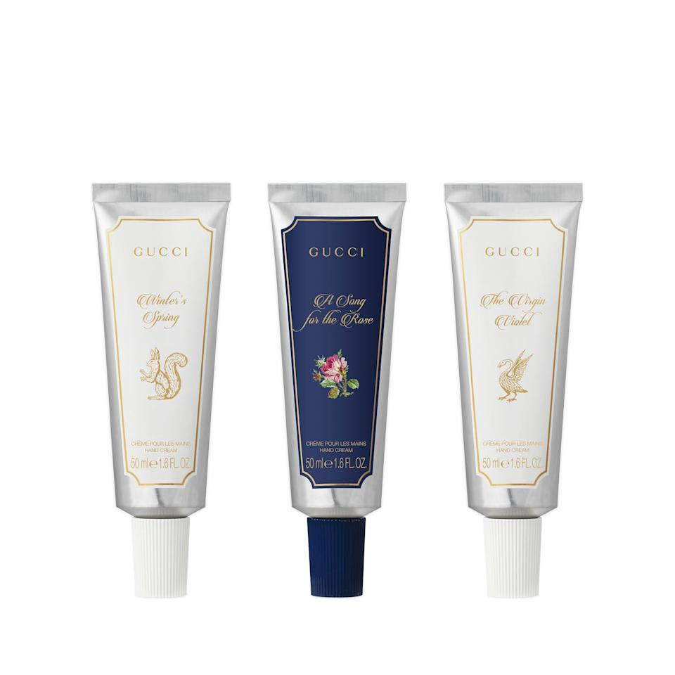 """<p>""""Buying someone a designer handbag may not be in the cards this year (or for the majority of years, if you're me) but gifting something fancy shmancy doesn't have to cost a fortune. Take the <span>Gucci The Alchemist's Garden 3-Piece Hand Cream Set</span> ($220), for example: While it's still on the higher end when it comes to hand creams, with all the hand-washing that's been going on this year, never has giving a Gucci gift felt <em>more</em> practical."""" - KC</p>"""
