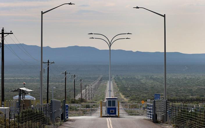 The gate to Jeff Bezos's™Blue Origin operations in West Texas - Getty