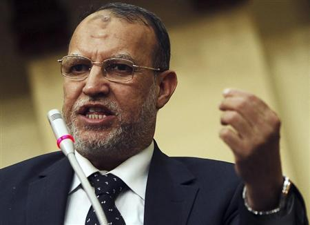 Essam el-Erian, deputy head of the Freedom and Justice Party, speaks during Egypt's Shura Council meeting in Cairo