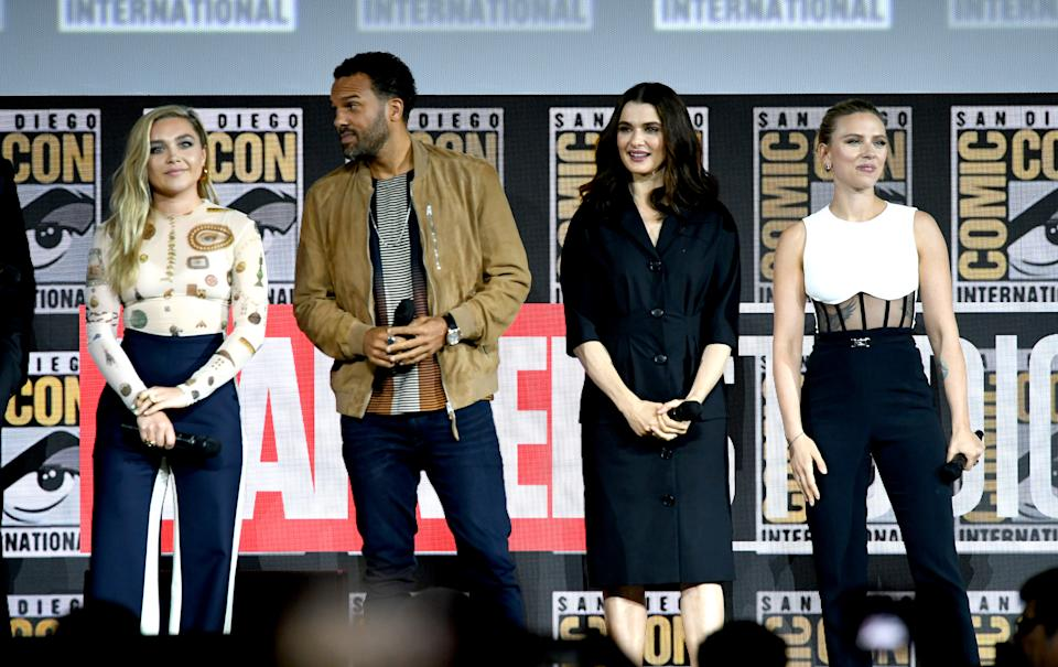SAN DIEGO, CALIFORNIA - JULY 20: (L-R) Florence Pugh, O. T. Fagbenle, Rachel Weisz and Scarlett Johansson speak at the Marvel Studios Panel during 2019 Comic-Con International at San Diego Convention Center on July 20, 2019 in San Diego, California. (Photo by Kevin Winter/Getty Images)