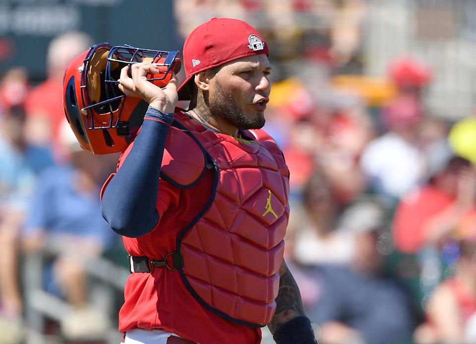Cardinals catcher Yadier Molina has a fascinating Hall of Fame case. (Photo by Mark Brown/Getty Images)