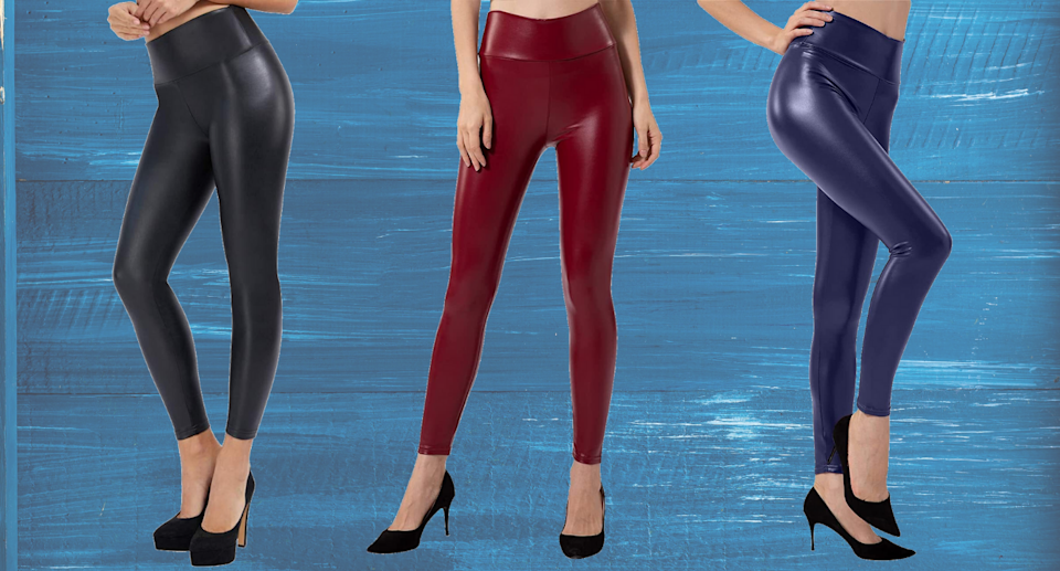 Three models wearing faux leather leggings in black, blue, and red.