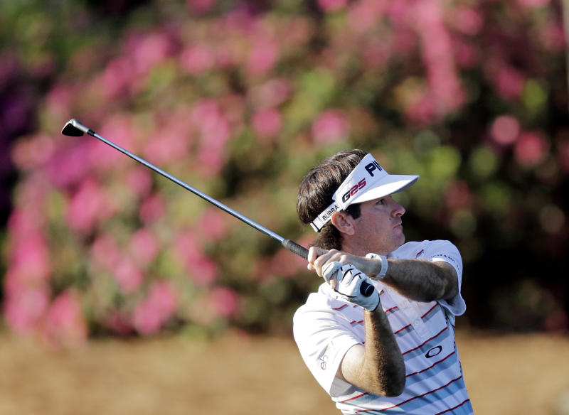 Bubba Watson watches his shot on the 13th hole during a practice round for the Masters golf tournament Wednesday, April 10, 2013, in Augusta, Ga. (AP Photo/Matt Slocum)