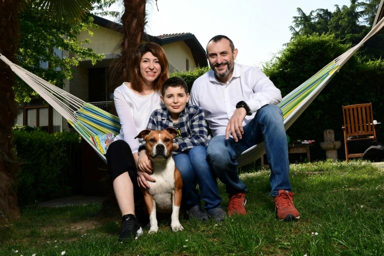 Cerba-20 creator Lupo Daturi is in isolation on the ouskirts of Milan with his parents and dog Mia (AFP Photo/Miguel MEDINA)