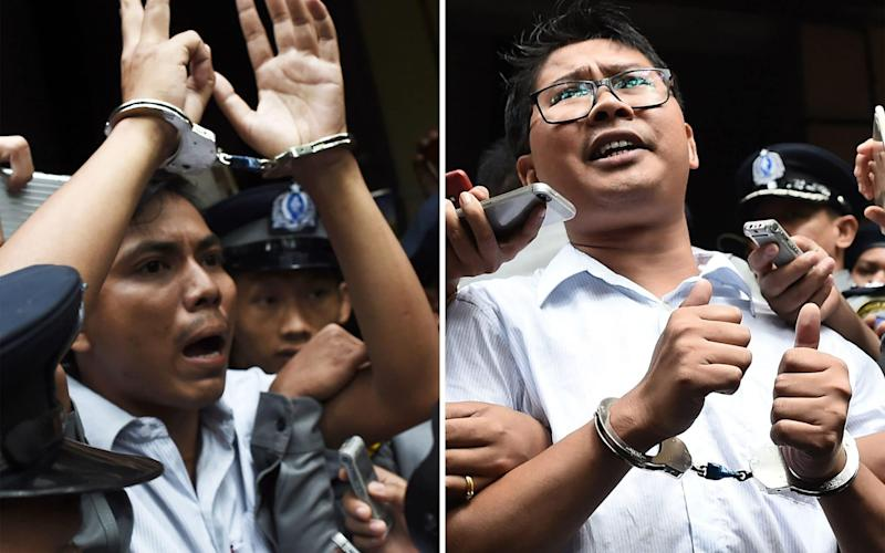 Journalists Kyaw Soe Oo and Wa Lone have spent more than 16 months in detention since they were arrested in December 2017  - AFP