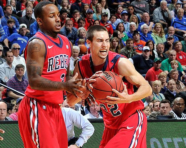 Marshall Henderson grabs a loose ball during Mississippi's win over Wisconsin. (Getty)