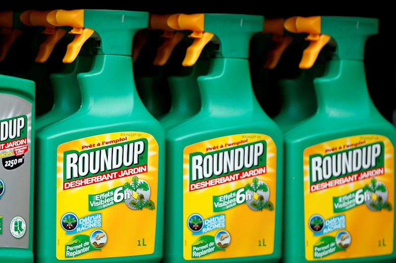 Monsanto's Roundup weedkiller atomizers are displayed for sale at a garden shop near Paris.  (Charles Platiau / Reuters)