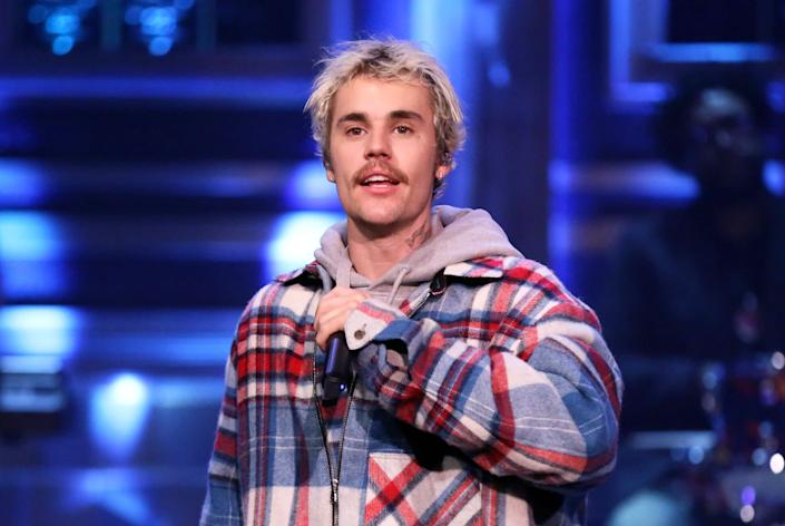 """Justin Bieber (and his mustache) performs on """"The Tonight Show With Jimmy Fallon."""" (Photo: NBC via Getty Images)"""