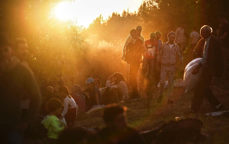 Syrian refugees and migrants gather near the highway on September 15, 2015, on their way to the border between Turkey and Bulgaria in the northwestern Turkish city of Edirne