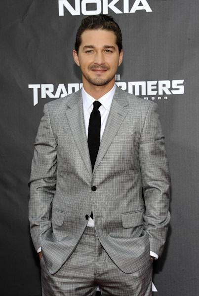 """FILE - This June 28, 2011 file photo shows actor Shia LaBeouf attending the """"Transformers: Dark of the Moon"""" premiere in Times Square in New York. LaBeouf will join fellow actor Alec Baldwin as he makes his Broadway debut in """"Orphans."""" The play will begin performances on March 19 and open on April 7, 2013 at the Schoenfeld Theatre in New York. (AP Photo/Evan Agostini, file)"""