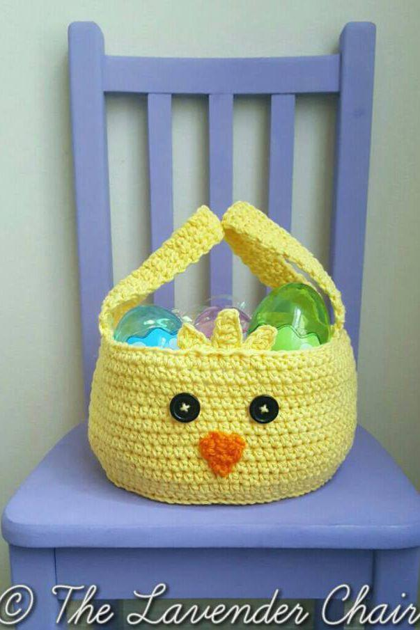 """<p>Follow this free pattern to crochet an adorable Easter basket in the shape of a baby chick. </p><p><a href=""""http://www.thelavenderchair.com/chickadee-easter-basket-crochet-pattern/"""" rel=""""nofollow noopener"""" target=""""_blank"""" data-ylk=""""slk:Get the tutorial from The Lavender Chair »"""" class=""""link rapid-noclick-resp""""><em>Get the tutorial from The Lavender Chair »</em></a></p>"""