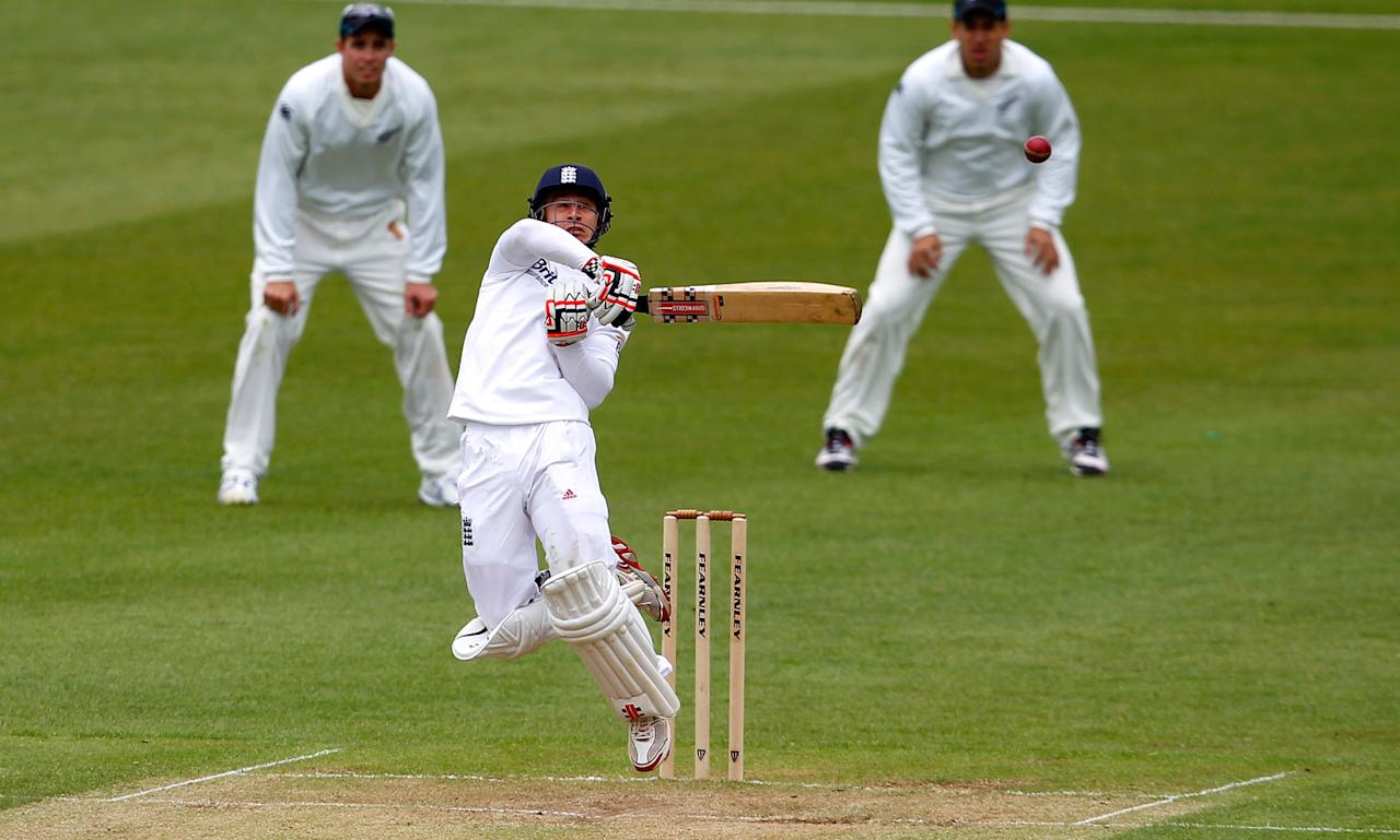 LEICESTER, ENGLAND - MAY 11: England batsman James Taylor during plays a shot on day three of the tour match between England Lions and New Zealand at Grace Road on May 11, 2013 in Leicester, England. (Photo by Paul Thomas/Getty Images)