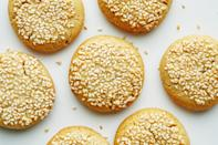 "These chewy, sesame seed–coated cookies are like the older, more sophisticated cousin of peanut butter cookies. Serve them mid-afternoon with a cup of coffee or tea. <a href=""https://www.epicurious.com/recipes/food/views/sesame-tahini-cookies-mamaleh-cambridge?mbid=synd_yahoo_rss"" rel=""nofollow noopener"" target=""_blank"" data-ylk=""slk:See recipe."" class=""link rapid-noclick-resp"">See recipe.</a>"