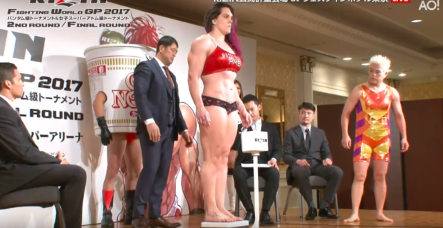 This weigh-in did not go as expected. (Screenshot via ReactQ on Youtube)
