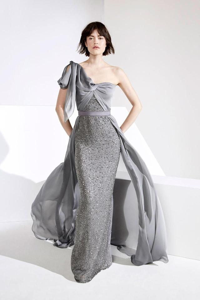<p>A gray embellished dress from the Jenny Packham FW18 collection. (Photo:Courtesy of Jenny Packham) </p>