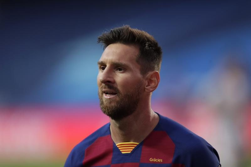 Barcelona's Lionel Messi during the Champions League quarterfinal match between FC Barcelona and Bayern Munich at the Luz stadium in Lisbon, Portugal, Friday, Aug. 14, 2020. (AP Photo/Manu Fernandez/Pool)