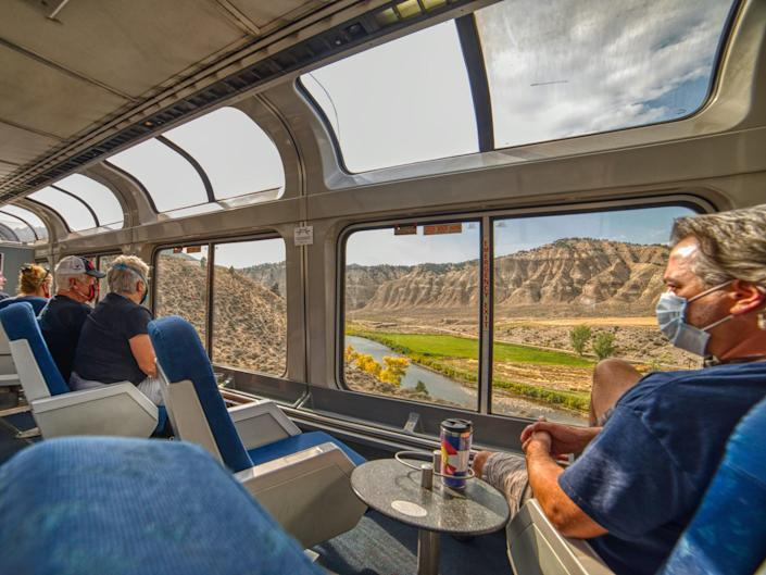 views of the landscape from an amtrak viewliner