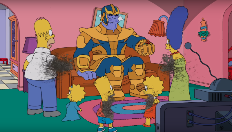 The Simpsons' parodies the Thanos 'snap' from 'Avengers