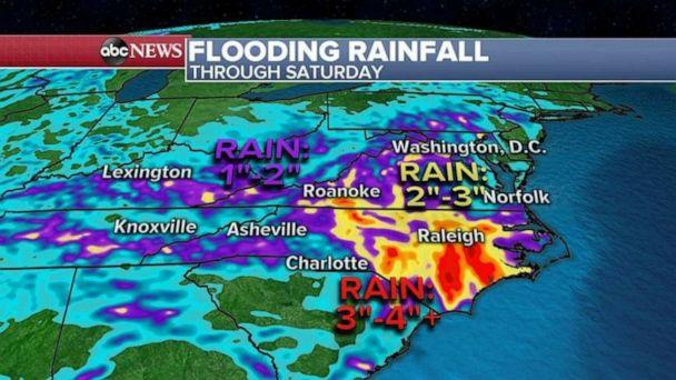 PHOTO: The heaviest rain will be from Virginia to North Carolina, where another 4 inches of rain could fall. More flooding and flash flooding are expected in the regions for the next 48 hours. (ABC News)